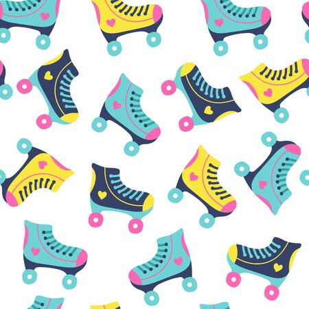 Seamless pattern with roller skates on white background. Vector illustrations