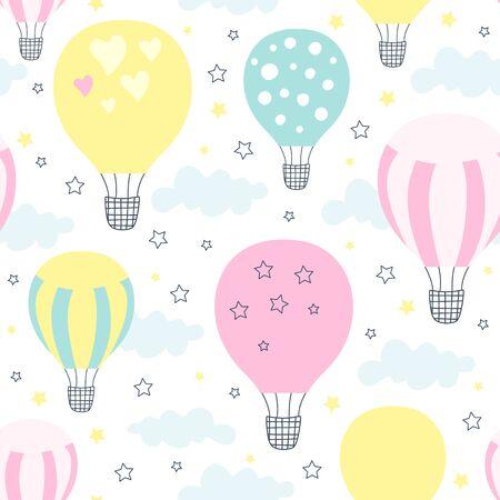Seamless pattern with hot air balloon. Vector illustration Ilustração
