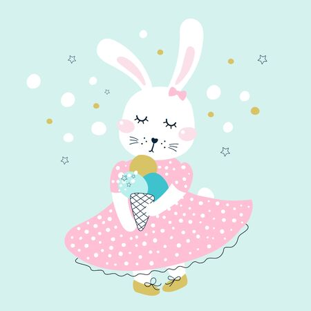 Greeting card with bunny and ice cream. Kids print. Vector illustrations