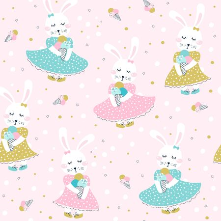 Seamless pattern with cute  bunny with ice cream. Vector illustrations