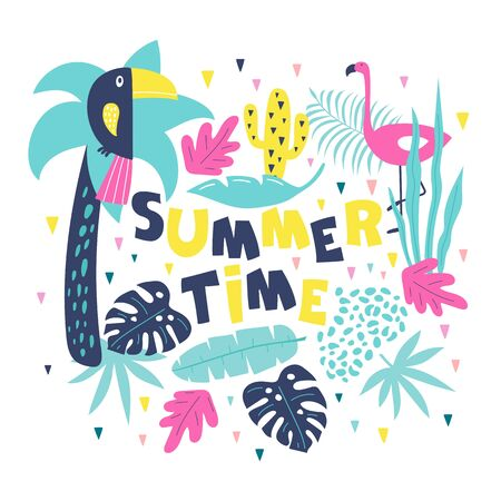 Summer time hand drawn inspiration motivation lettering quote with palm, monstera leaves, flamingo and toucan. Vector illustration