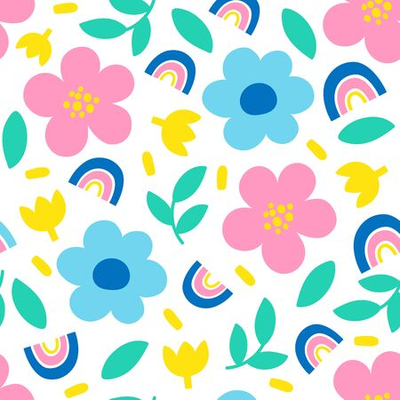 Seamless pattern with flowers on white background. Vector illustrations