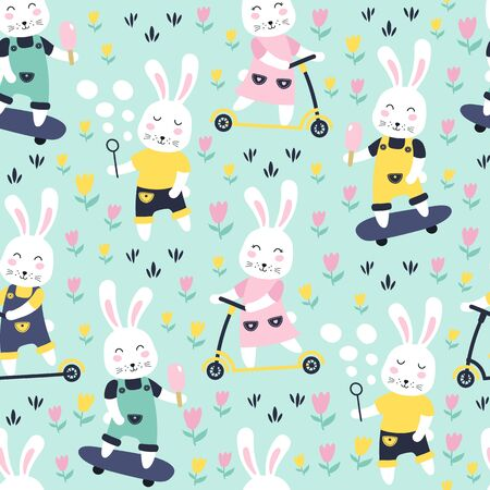 Seamless pattern with bunny on scooter and skateboard. Vector illustrations Ilustração