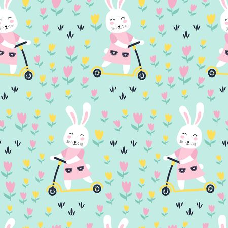 Seamless pattern with bunny on scooter. Vector illustrations