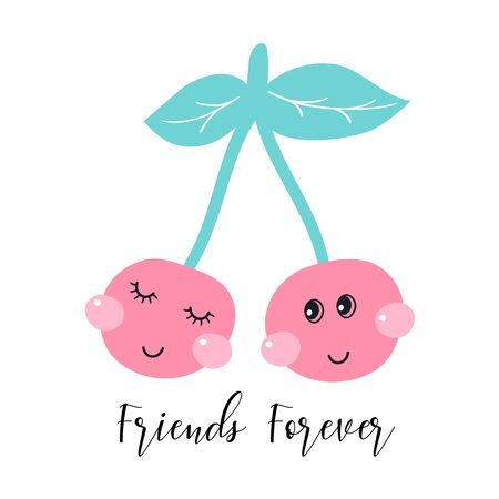 Two cute cherries. Friends forever. Kids print. Vector illustrations
