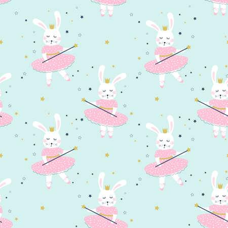 Seamless  pattern with bunny girl ballerina. Kids print. Vector illustrations