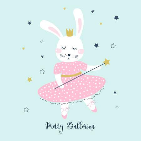 Greeting card with  bunny girl ballerina. Kids print. Vector illustrations Ilustração