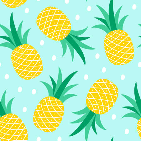 Seamless pattern with pineapple on a blue background. Vector illustration