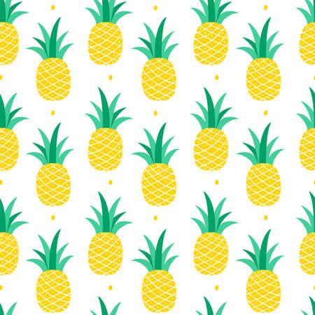 Seamless pattern with pineapple on a white background. Vector illustration Ilustração