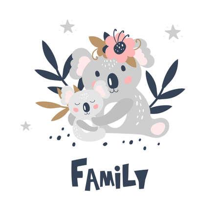 Card with cute koala on a white background. Kids print. Vector Illustration Иллюстрация