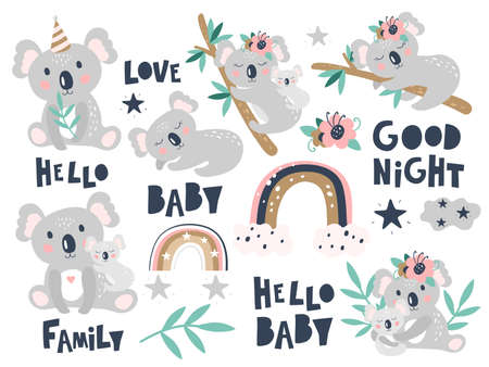 Set with cute koala on a white background. Kids print. Vector illustration.