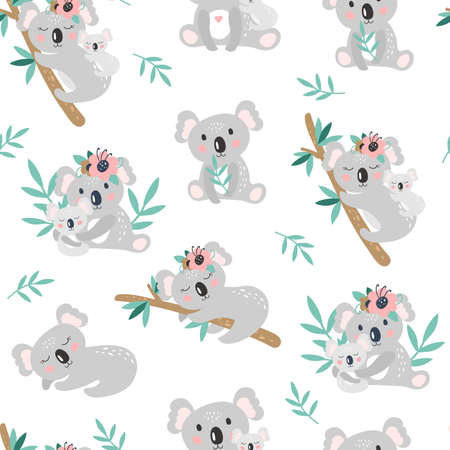 Seamless pattern with cute koala on a white background. Vector Illustration Vettoriali