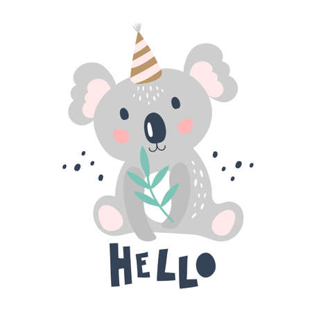 Card with cute koala on a white background. Kids print. Vector Illustration Vettoriali