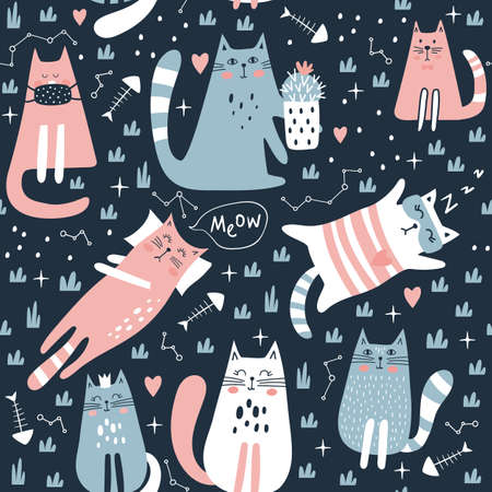 Seamless pattern with cute cat. Kids print. Vector illustration. Vettoriali