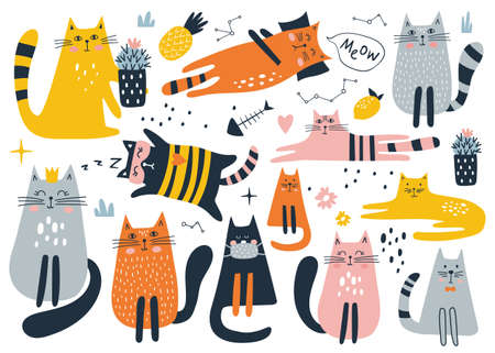 Set with cute cat on a white background. Kids print. Vector illustration.