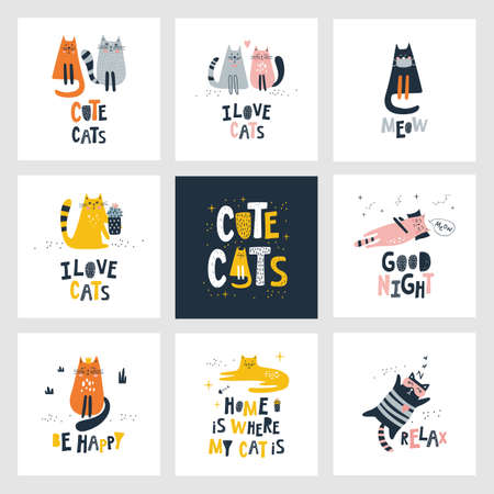 Set cards with cute cats. Kids print. Vector illustrations Vettoriali
