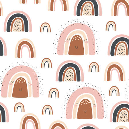 Seamless pattern with rainbow on a white background. Kids print. 矢量图像