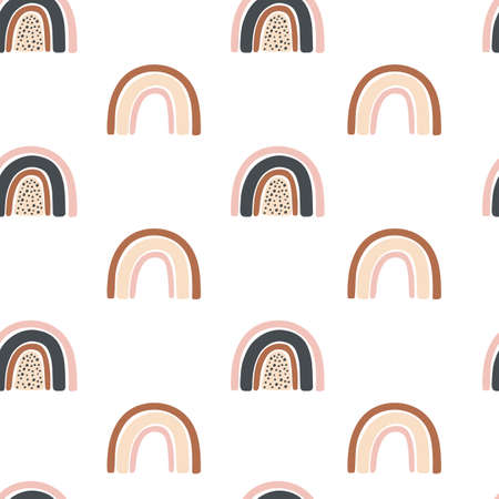 Seamless pattern with rainbow on a white background. Kids print
