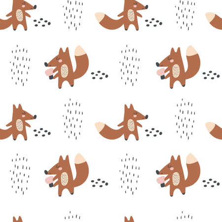 Cute fox on a white background. Kids print.