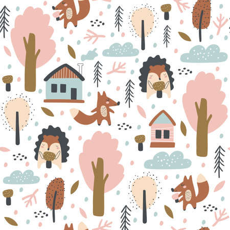 Seamless pattern with fox, hedgehogs, autumn leaves and trees.