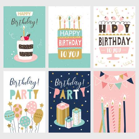 Happy Birthday card set. Vector illustration