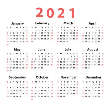 Calendar 2021 starting from Sunday. Vector illustration