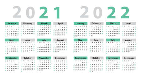 Calendar set 2021; 2022; 2023; 2024; starting from Sunday. Vector illustration