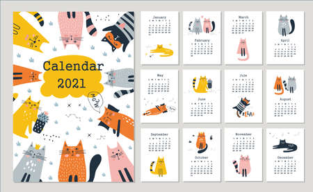 Calendar 2021 with cute cats. Hand drawn vector illustration