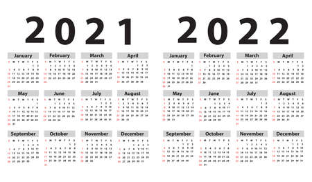 Calendar set 2021; 2022; starting from Sunday. Vector illustration 矢量图像