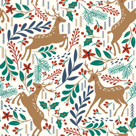 Seamless pattern with deer, leaves and branches. 일러스트