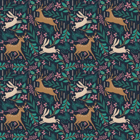 Seamless pattern with deer and rabbit. 일러스트