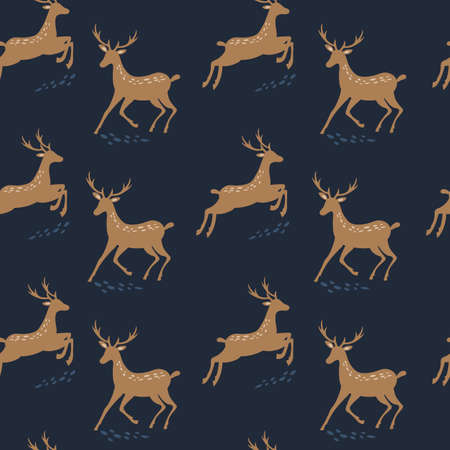 Seamless pattern with deer. Winter background.