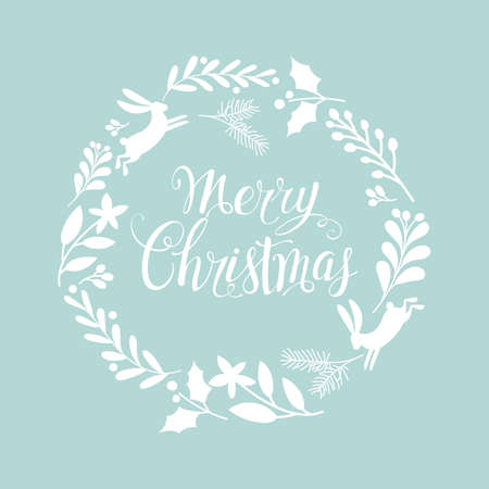 Hand drawn lettering poster Merry Christmas. Greeting card. Christmas wreath. Vector illustration