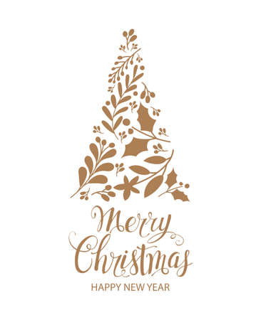 Merry Christmas and Happy New Year. Greeting card with Christmas tree. Vector illustration 일러스트