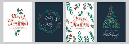 Set Christmas cards with Christmas tree, wreath, christmas decorations. Vector illustrations