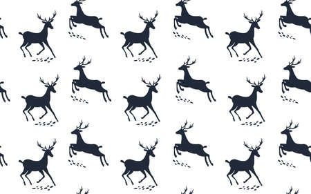 Seamless pattern with deer. Winter background. Vector illustration