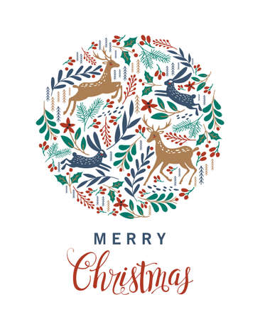 Merry Christmas. Greeting card with Christmas deer. Vector illustration Ilustracja