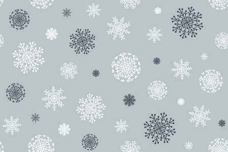 Christmas seamless pattern with snowflakes on a white background. Vector illustration Ilustracja