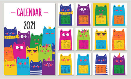 Calendar 2021 with colorful cute cats. Vector illustrations