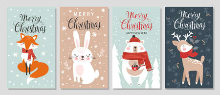 Merry Christmas and Happy New Year greeting card set with hand drawing elements. Vector illustrations Ilustracja