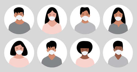 Banner with group of people in protective medical face masks to prevent disease. Coronavirus (2019-nCoV). Vector illustration Ilustracja