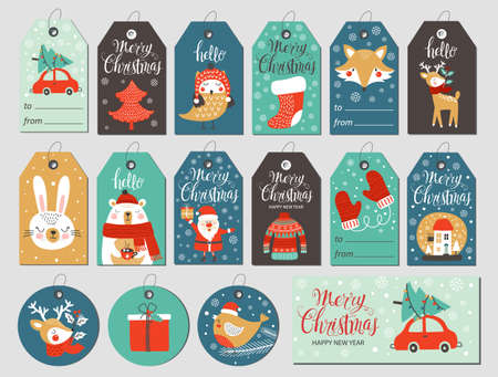 Set of merry christmas tags with hand drawing elements. Vector illustrations
