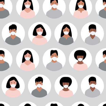 Seamless pattern with people of different nationalities wearing medical masks. Vector illustration.