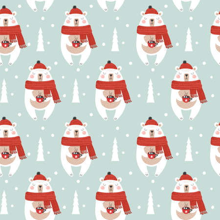 Seamless pattern with christmas bear. Vector illustrations Ilustracja