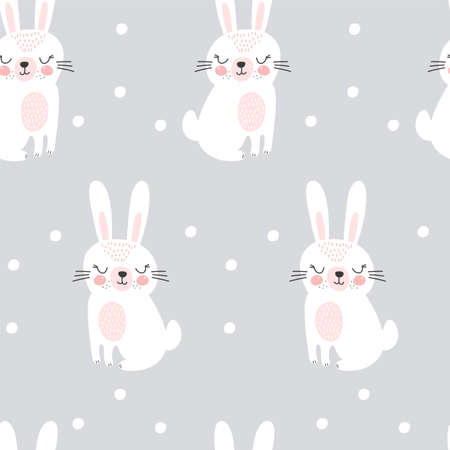 Seamless pattern with cute rabbit. Childish print. Vector illustrations