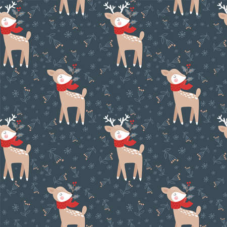 Seamless pattern with christmas deer. Vector illustrations