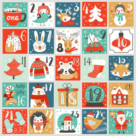 Christmas Advent calendar with hand drawn elements. Xmas Poster. Vector illustration Vettoriali