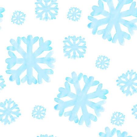 Seamless pattern with watercolor snowflake on white background