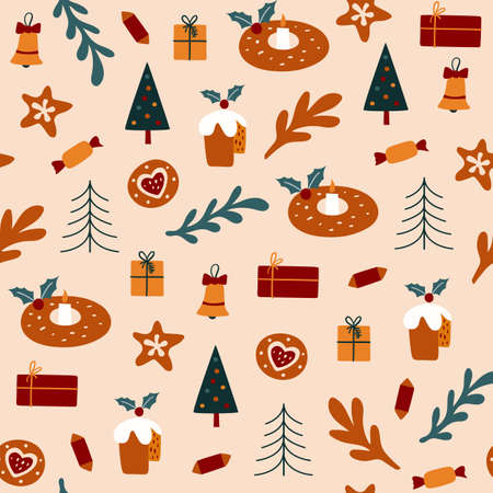 Seamless pattern with Christmas cookies and cake. Vector illustrations