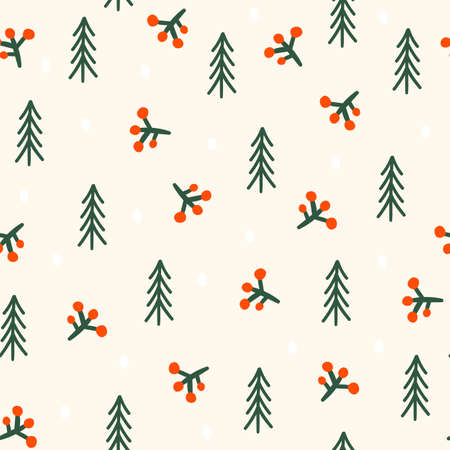 Seamless patterns with Christmas tree. Vector illustration
